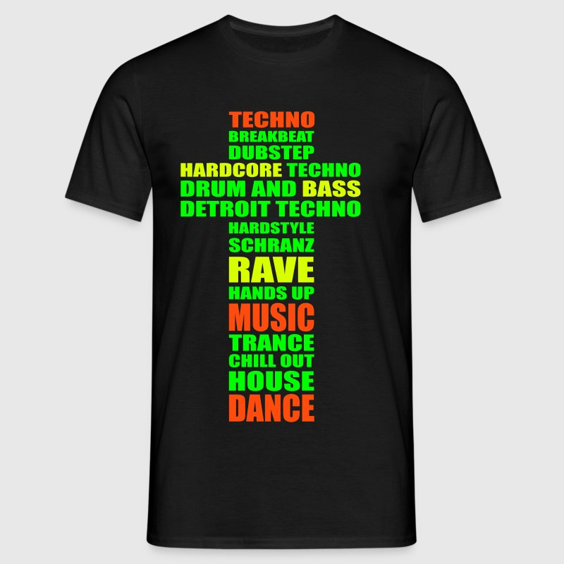 I love Techno Music Dance Party rave raven bass - Männer T-Shirt