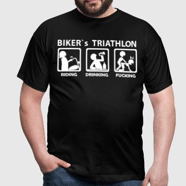 bikers triathlon eating drinking fucking - Men's T-Shirt