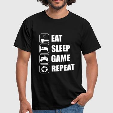eat sleep game geek - Gaming Nerd - Herre-T-shirt