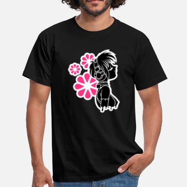 Anime Black Music&Flowers Men's T-Shirts - Men's T-Shirt