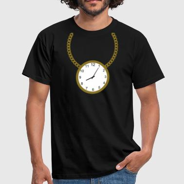 Gold Chain Necklace with clock - Men's T-Shirt