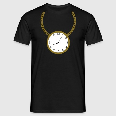 Necklace with clock - Men's T-Shirt