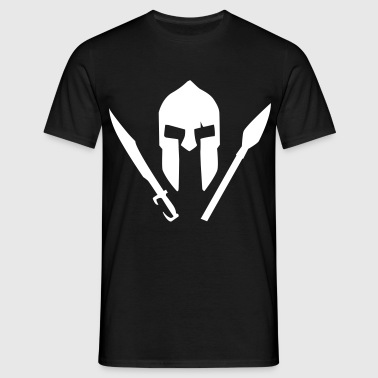 A spartan helmet with sword and spear - Men's T-Shirt