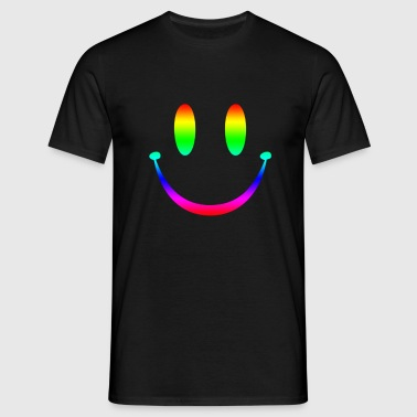 Rainbow Smiley 3 - Mannen T-shirt