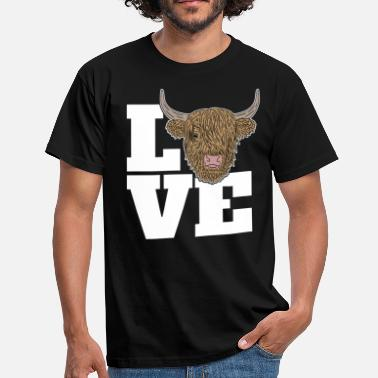 Cows Scottish Highland Cattle Highland Cow LOVE - Men's T-Shirt