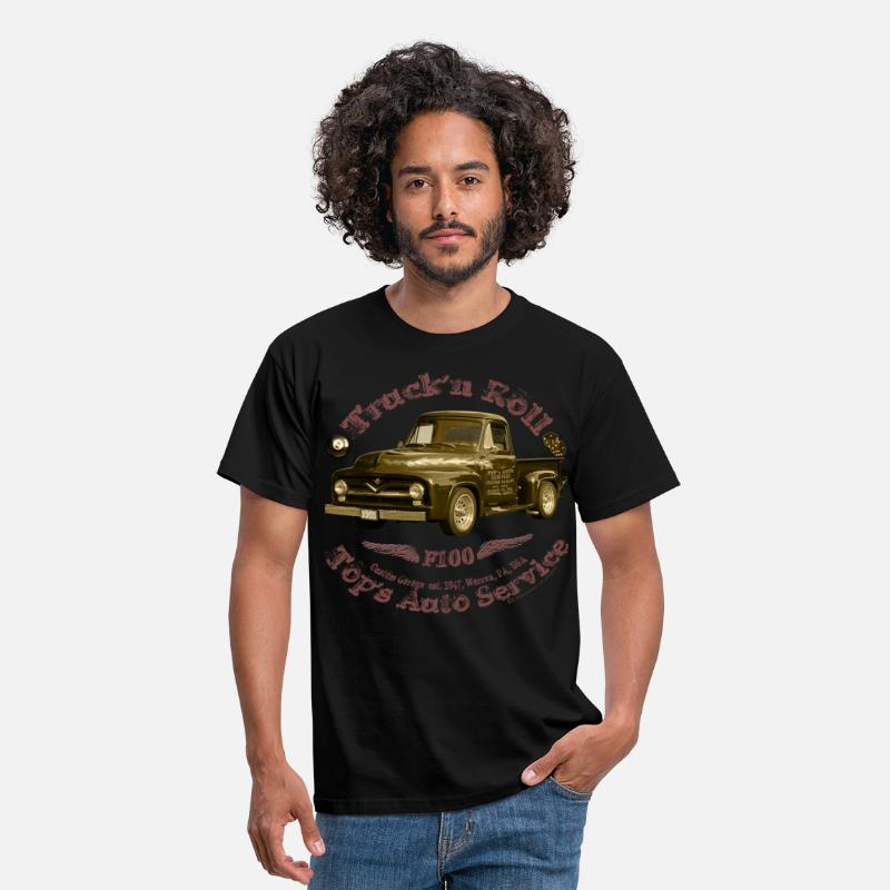 Hot T-Shirts - truck n roll 1955 f100 pickup vintage shirt Matic - Men's T-Shirt black