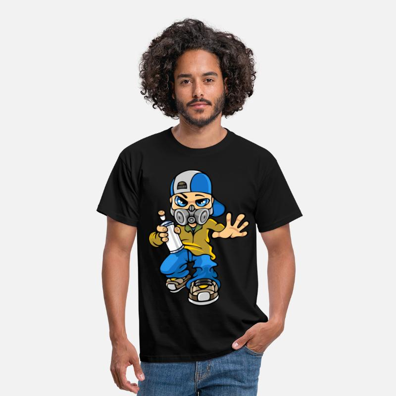 Boys T-Shirts - Graffiti boy and mask - Men's T-Shirt black