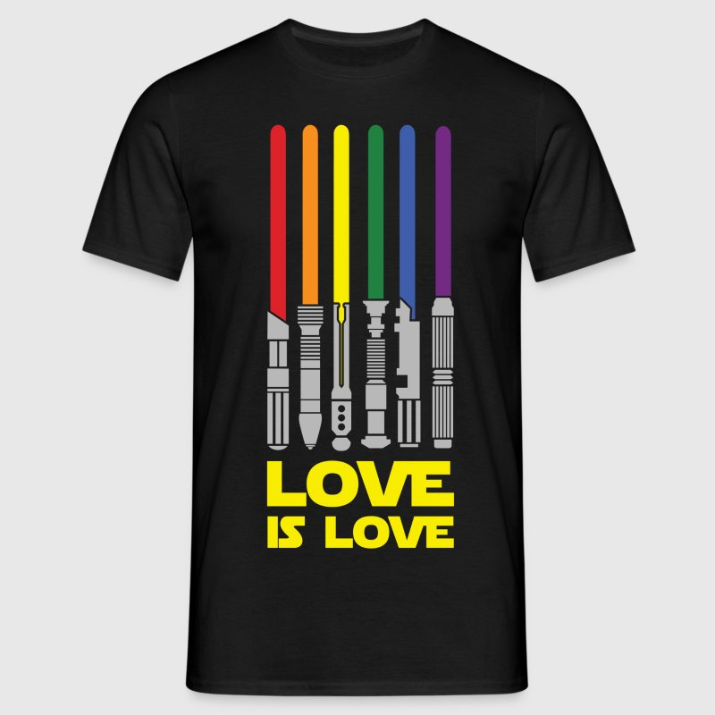 Lightsaber Rainbow, Love Is Love - Men's T-Shirt