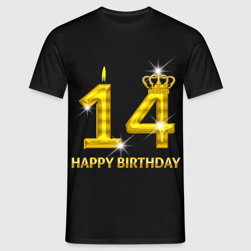 14-happy birthday - birthday - number gold - Men's T-Shirt