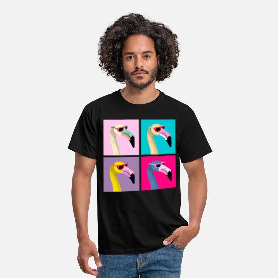 Cool Art T-Shirts - Pop Art Flamingo With Sunglasses - Men's T-Shirt black