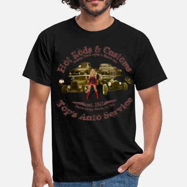 Vintage Pinup hot rods customs Auto Service 1947 vintage - Men's T-Shirt