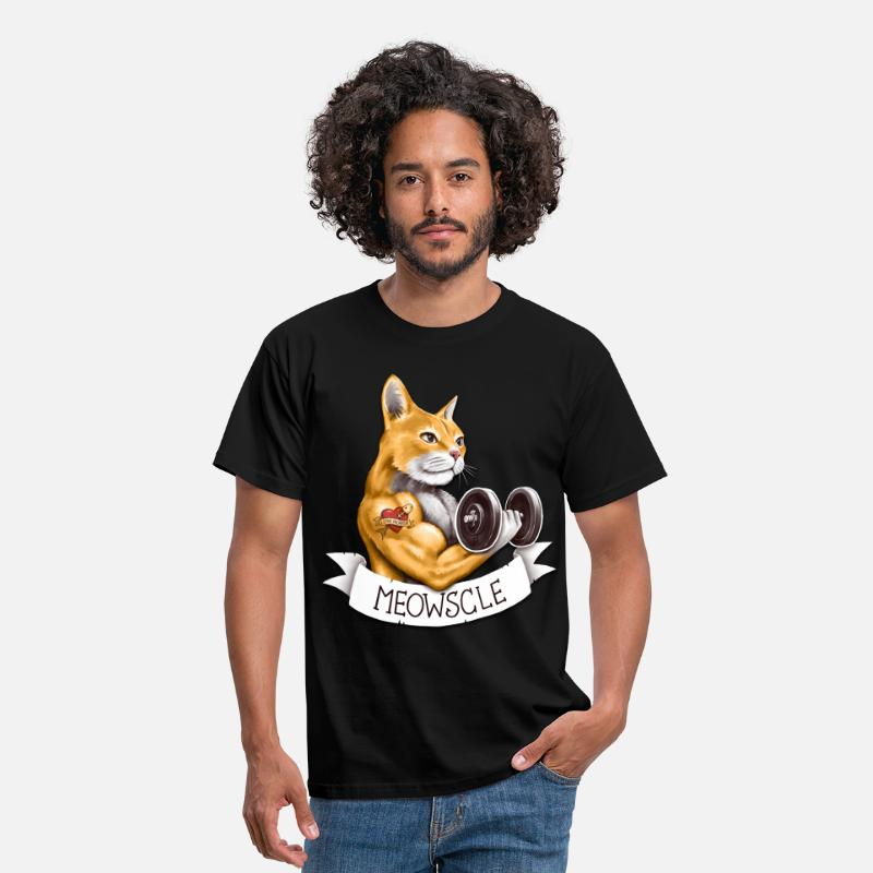 Gym T-Shirts - Meowscle - Men's T-Shirt black