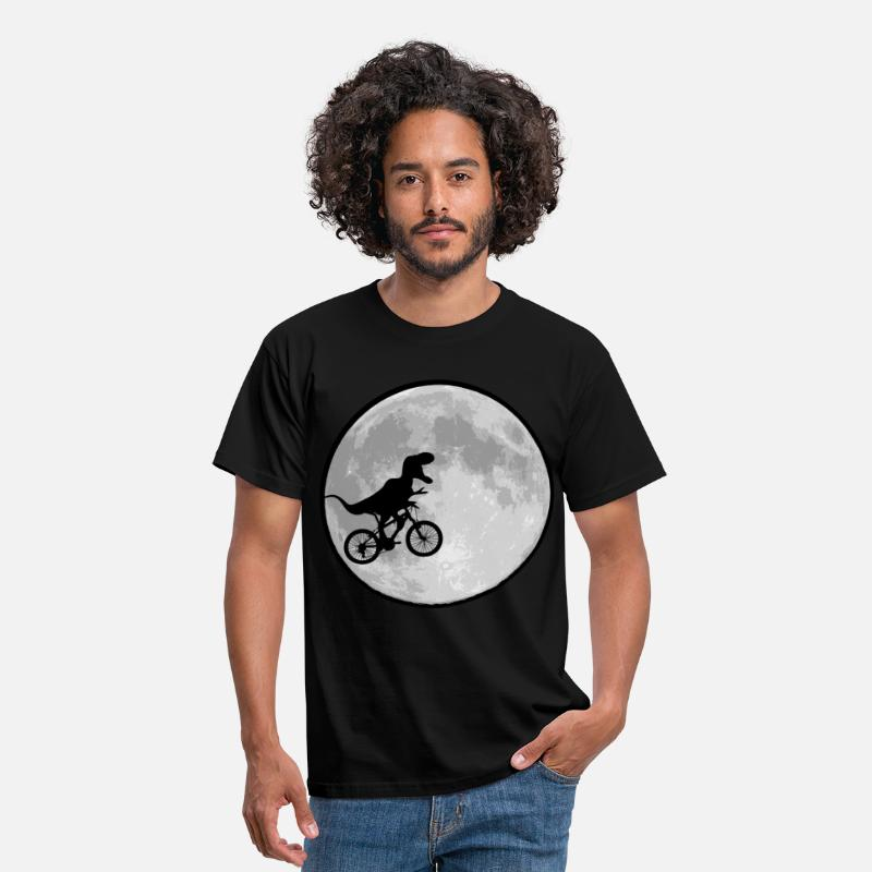 Retro T-Shirts - Dinosaur bike and moon funny 80s - Men's T-Shirt black