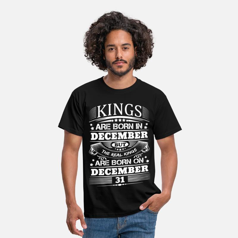 December T-Shirts - Real Kings Are Born On December 31 - Men's T-Shirt black