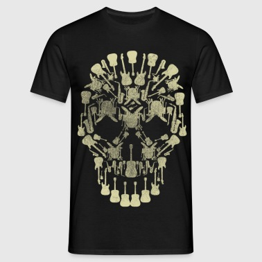 Musical Intruments Skull Silhoette - Men's T-Shirt