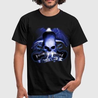 Deville skull_and_horns_and_guitars_b - Herre-T-shirt