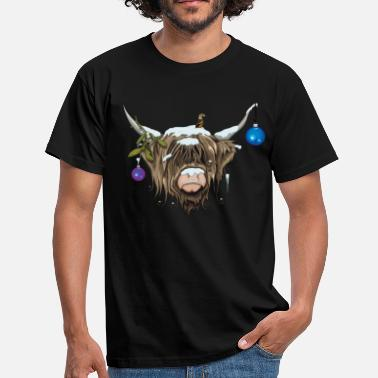 Funny Christmas Christmas Highland Cow (Limited Edition) - Men's T-Shirt