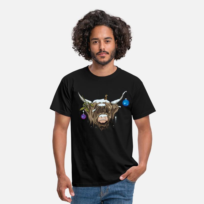 Christmas T-Shirts - Christmas Highland Cow (Limited Edition) - Men's T-Shirt black
