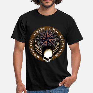 Bajistas rock_and_roll_and_skull_and_pentagram_c - Camiseta hombre