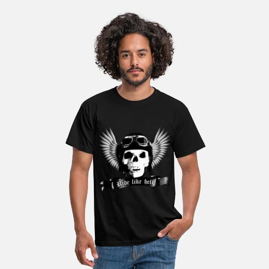 Motorcycle T-Shirts - biker_skull_a_sw - Men's T-Shirt black