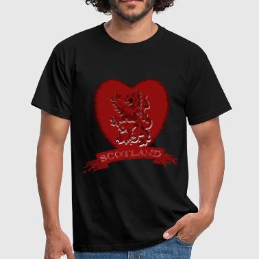 Scotland: Lion Rampant Heart with Scroll - Men's T-Shirt