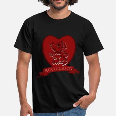 Lion Rampant Flag Scotland: Lion Rampant Heart with Scroll - Men's T-Shirt