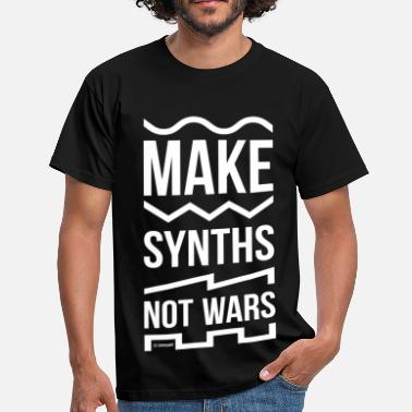 Make Synths Not Wars (Full-size white) - Men's T-Shirt