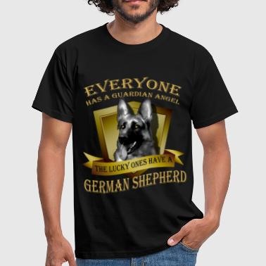 German Shepherd Everyone has a guardian angel, the lucky ones have - Men's T-Shirt