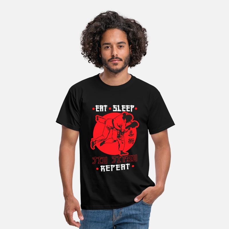 Jitsu T-Shirts - Eat, Sleep, Jiu Jitsu, Repeat - Men's T-Shirt black