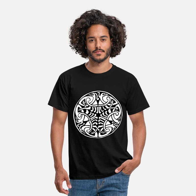 Celtic T-Shirts - Celtic Art Bird Pattern - Book of Kells - Men's T-Shirt black