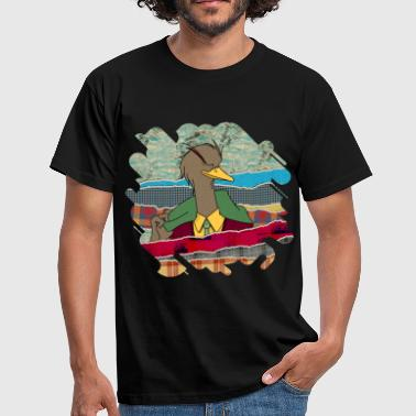 Hipster Duck mixed media digital art collage  - Men's T-Shirt