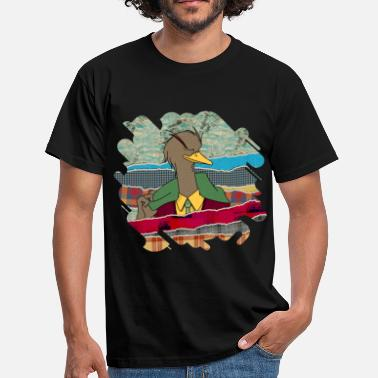 Mixed Media Hipster Duck mixed media digital art collage  - Men's T-Shirt