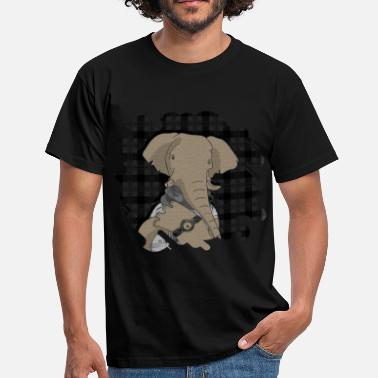 Mixed Media Hipster Elephant  mixed media digital art collage  - Men's T-Shirt