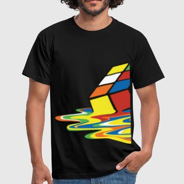 Rubik's Cube Melted Colourful Puddle - T-shirt herr