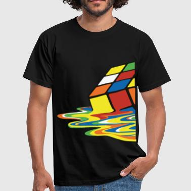 Rubik's Cube Melted Colourful Puddle - Herre-T-shirt
