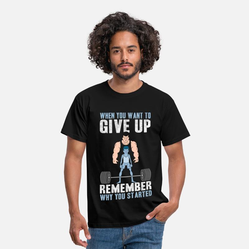 Gym T-Shirts - GYM - Never Give Up.png - Men's T-Shirt black