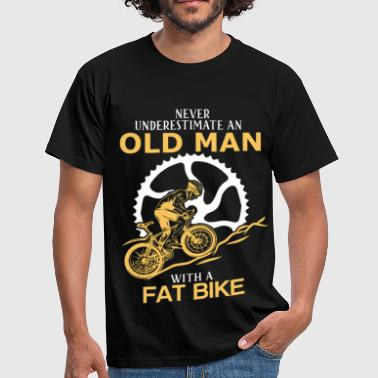 Never Underestimate An Old Man With A Fat Bike.png - Men's T-Shirt