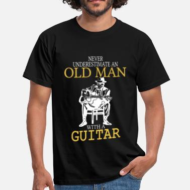 Never Never Underestimate An Old Man With A Guitar .png - Men's T-Shirt