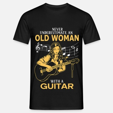 Never Underestimate An Old Woman With A Guitar.png - Men's T-Shirt