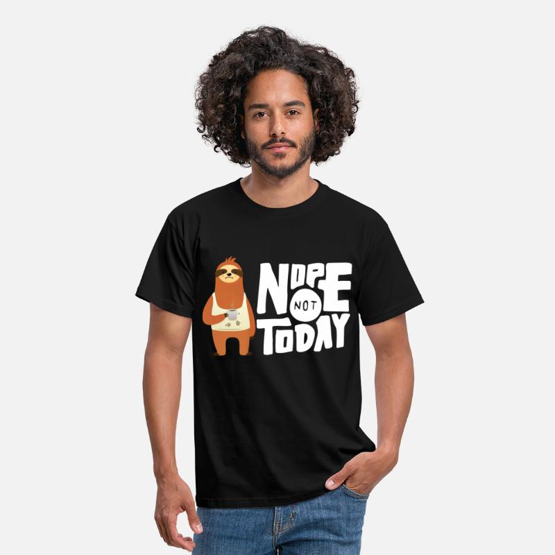 Grappige T-Shirts - Nope Not Today - Sloth Coffee - Mannen T-shirt zwart