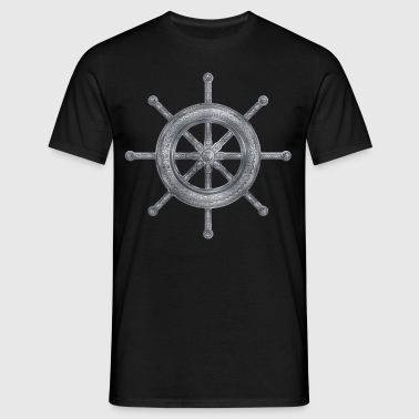Dharma Wheel - Dharmachakra  Silver Metallic  - Men's T-Shirt