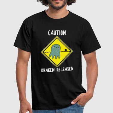 Release The Kraken Funny Caution Sign Octopus Poison - Mannen T-shirt