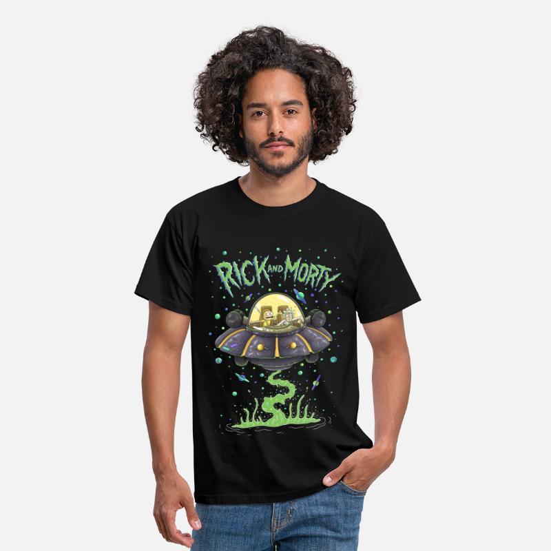 a3c2db7c Cool T-Shirts - Rick And Morty Spaceship Illustration - Men's T-Shirt black