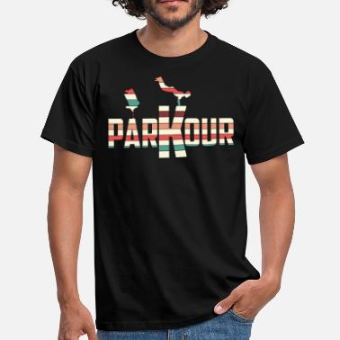 Sport Awesome and Cool Parkour Tshirt Design Stripes Parkour - Men's T-Shirt