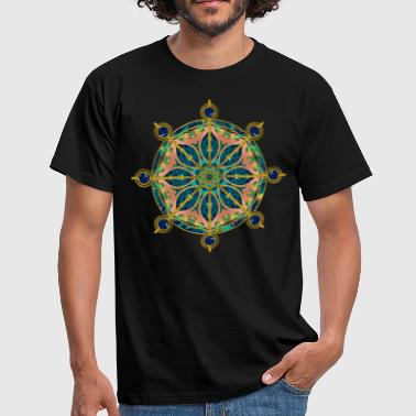 Dharma Wheel - Dharmachakra Gemstone & Gold - Men's T-Shirt