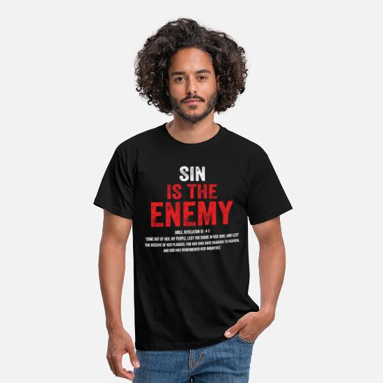 Christian T-Shirts - Sin Is The Enemy - Men's T-Shirt black