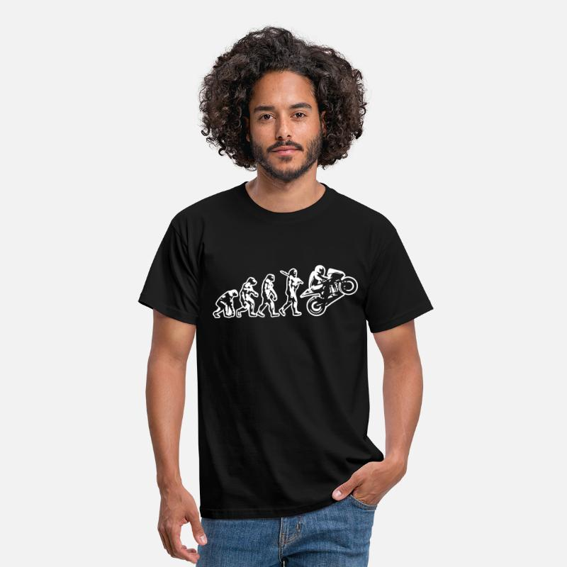 Motorcycle T-Shirts - motorcyle wheelie evolution reversed - Men's T-Shirt black