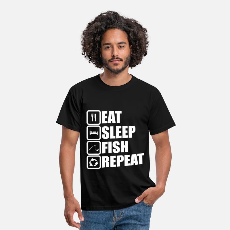 Visvangst T-Shirts - eat sleep fish repeat,visvangst - Mannen T-shirt zwart