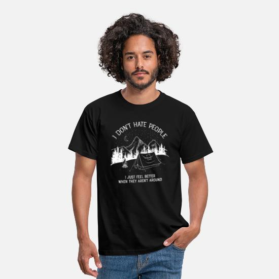 People T-shirts - I Don't Hate People...Mountains, Camping, Campfire - T-shirt herr svart