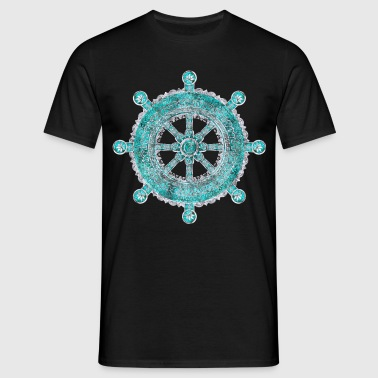 Dharma Wheel - Dharmachakra Silver and turquoise - Men's T-Shirt